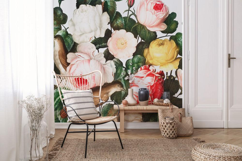 Spring Birds & Floral Wall Mural
