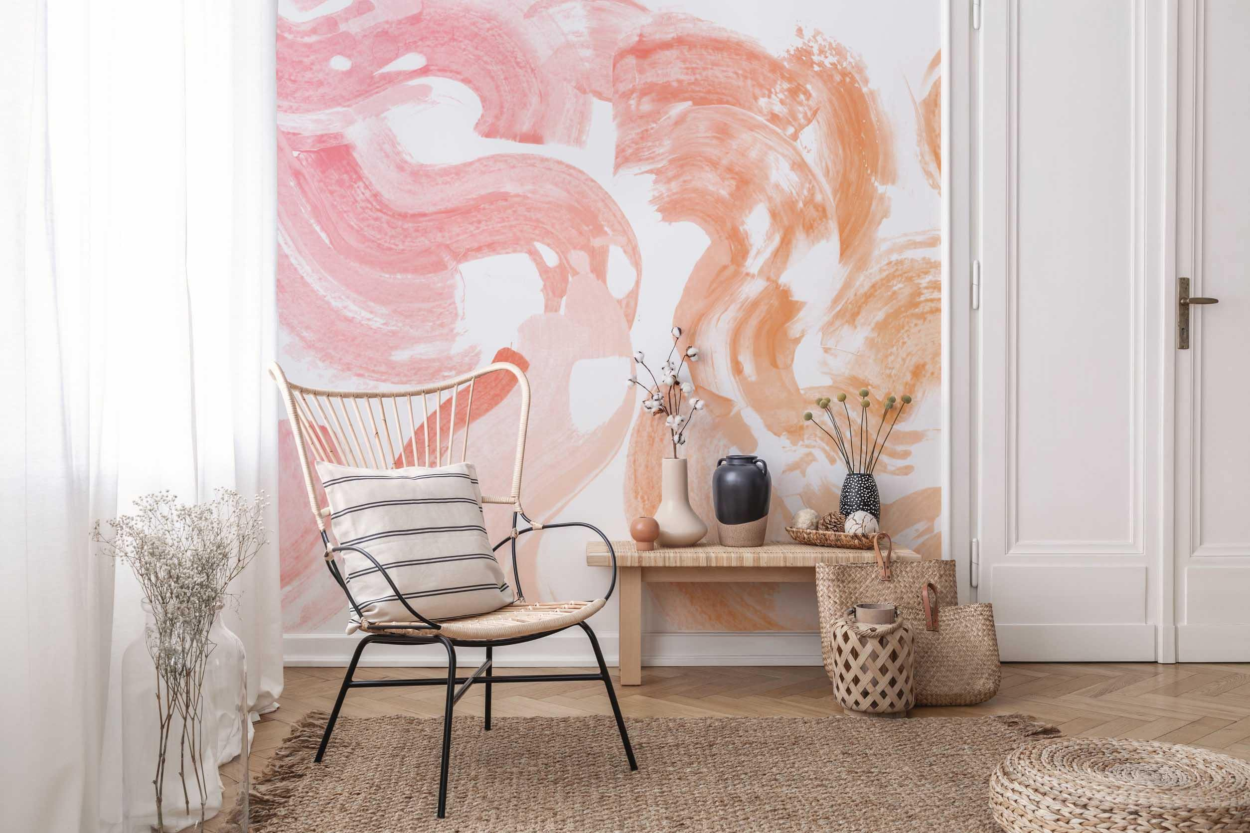 red wall mural