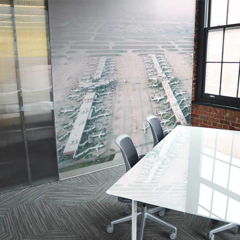 Transportation wall mural in corporate office