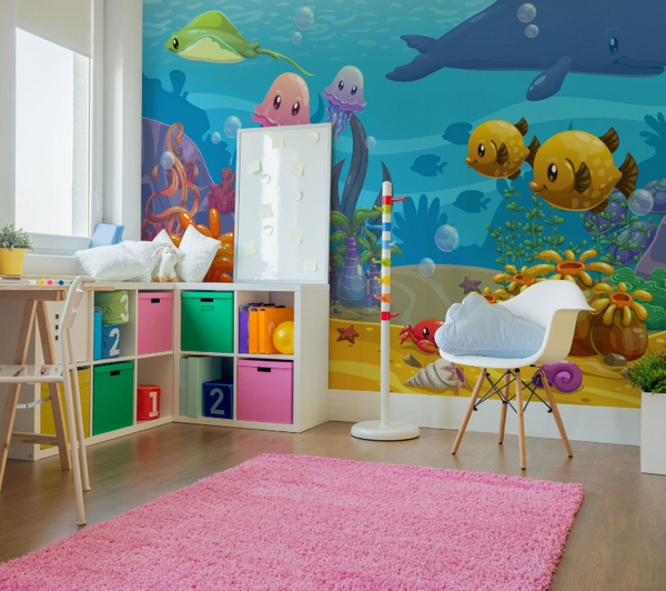 kids wall mural under water theme