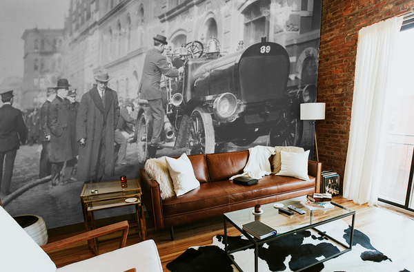 NEW YORK CITY VINTAGE FIRE ENGINE WALL MURAL