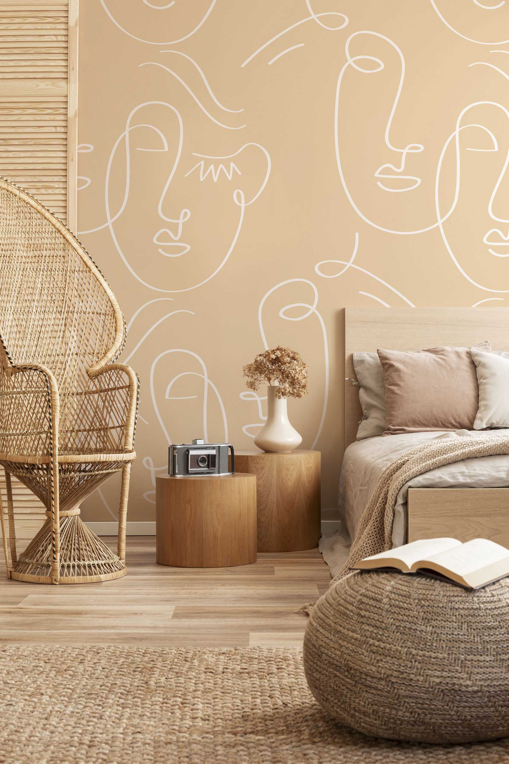 White Gold Abstract Twin Faces Wall Mural