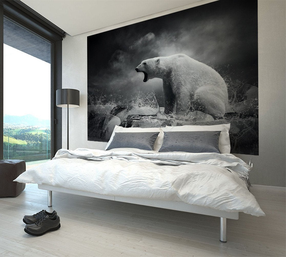White Polar Bear on Ice Wall Mural