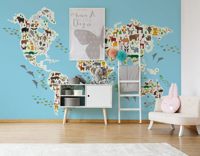 childrens map wall mural wallpaper peel and stick animal cartoon map kids room bedroom