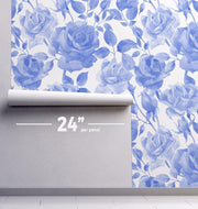 Blue Water Floral Removable Wallpaper-wallpaper-Eazywallz