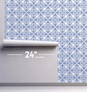 Blue Watercolor Tile Removable Wallpaper-wallpaper-Eazywallz
