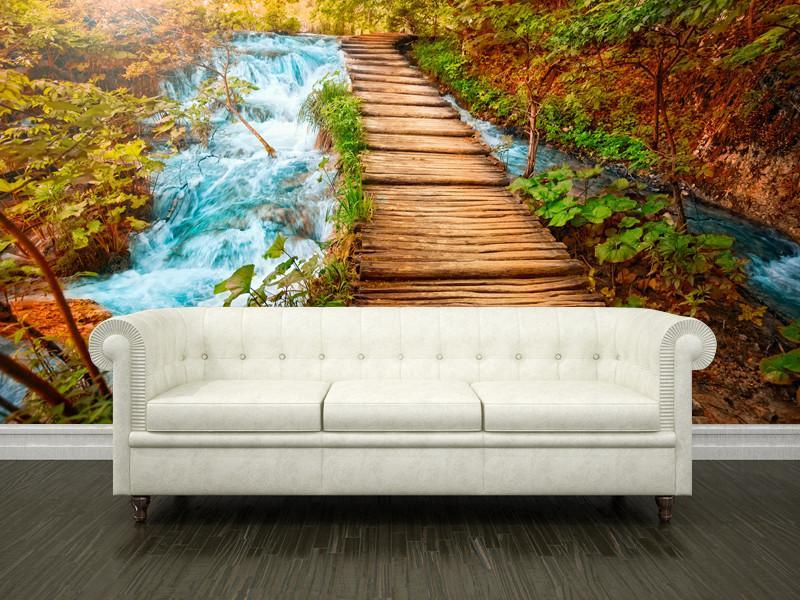Boardwalk over a river Wall Mural