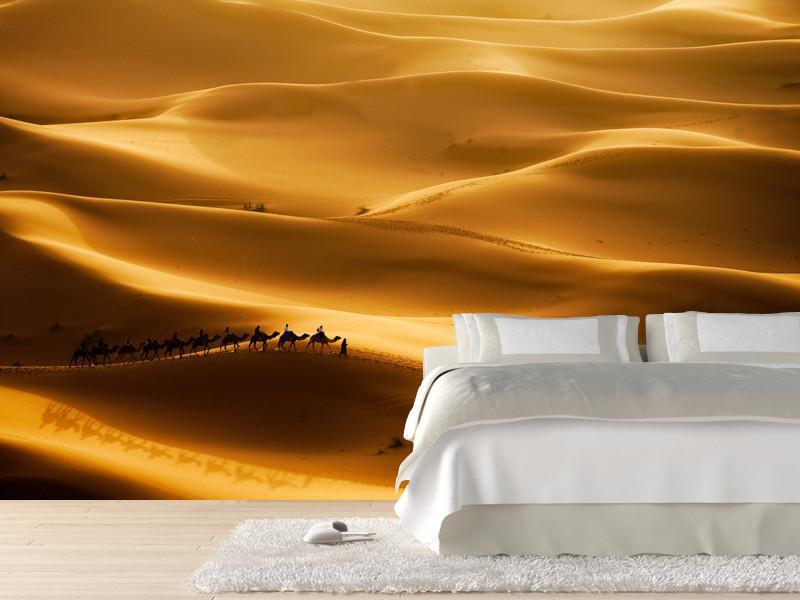 Camel caravan in the sahara desert wall mural eazywallz for Desert wall mural