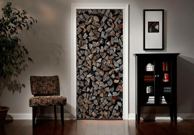 Chopped Wood Door Mural-Door Mural-Eazywallz