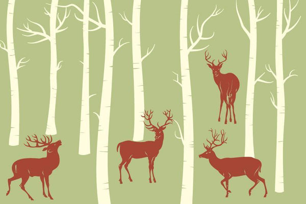 Deers in the forest Wall Mural-Animals & Wildlife,Landscapes & Nature,Modern Graphics-Eazywallz
