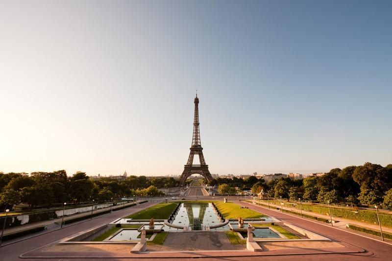 Eiffel Tower at dusk, France Wall Mural-Buildings & Landmarks-Eazywallz
