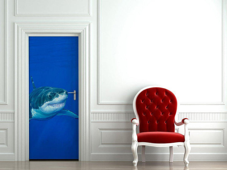 Great White Shark Door Mural-Tropical & Beach-Eazywallz