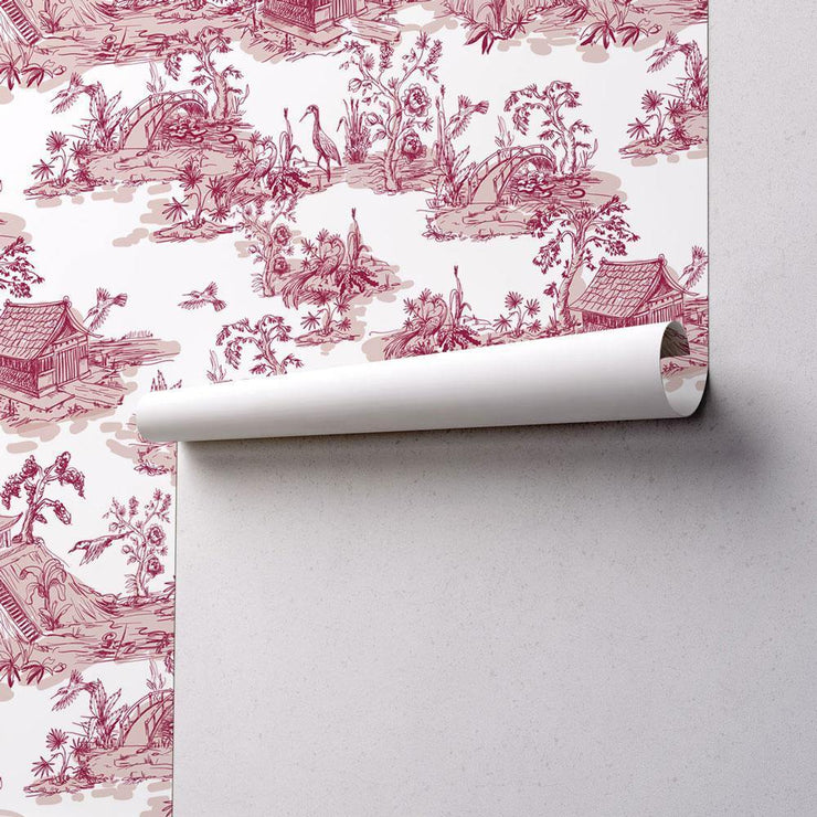 Hand Drawn Chinoiserie Style 2 Wallpaper-wallpaper-Eazywallz