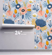 Hippie Floral Removable Wallpaper-wallpaper-Eazywallz