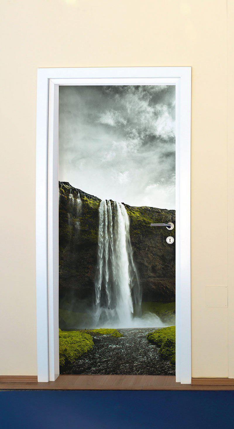 Iceland Waterfall Door Mural-Landscapes & Nature-Eazywallz