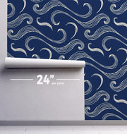 Japanese Waves Removable Wallpaper-wallpaper-Eazywallz