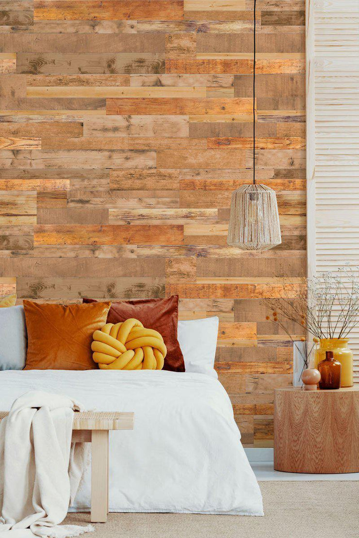 Light Brown Reclaimed Wood Removable Wallpaper-Wall Mural-Eazywallz