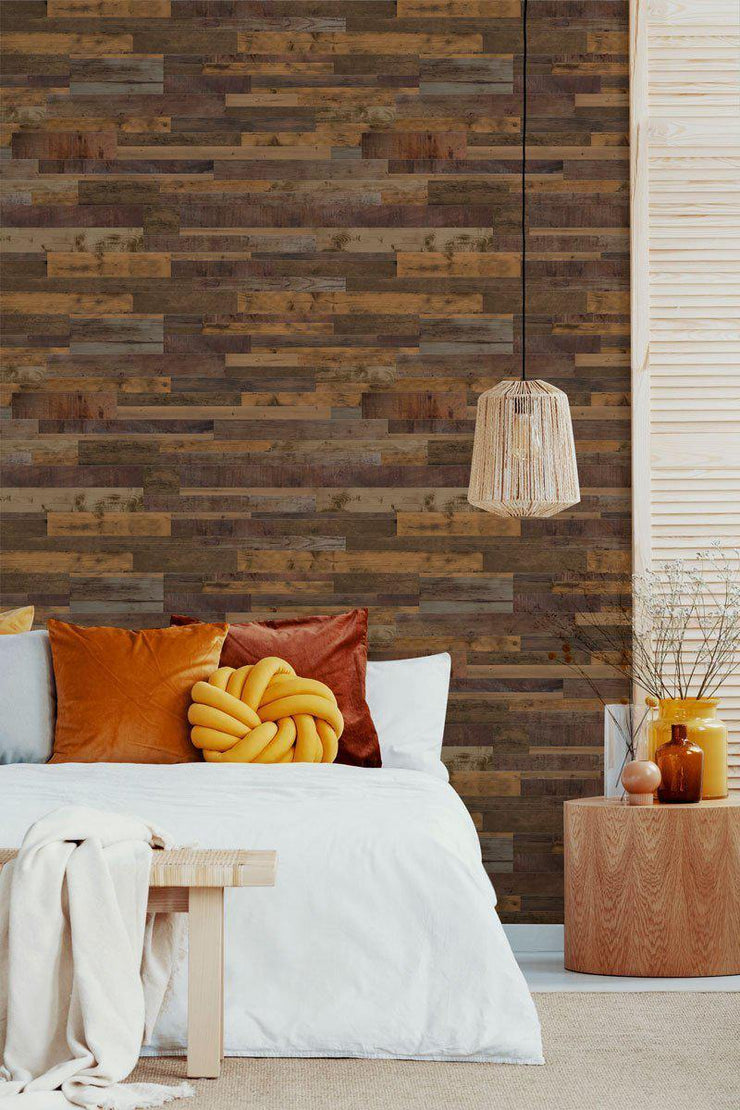 Mixed Brown Reclaimed Wood Removable Wallpaper-wallpaper-Eazywallz