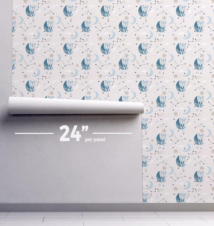 Night Time Bears Removable Wallpaper-wallpaper-Eazywallz