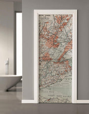 Old NYC Map Door Mural-Door Mural-Eazywallz