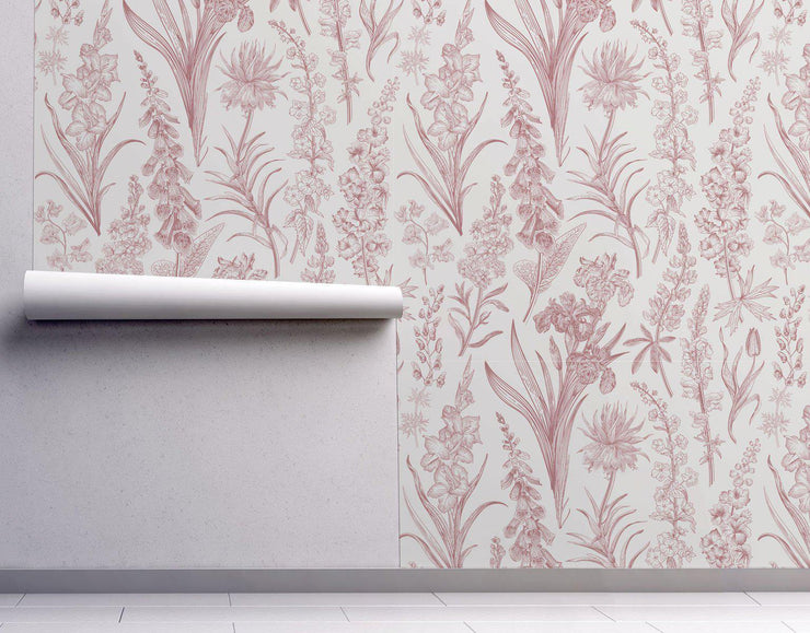 Red Floral Removable Wallpaper-wallpaper-Eazywallz
