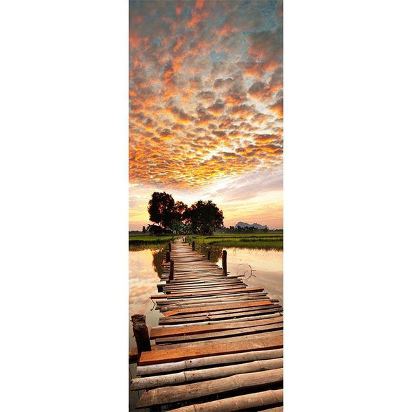 Sunset on Wood Bridge Door Mural-Urban,Vintage-Eazywallz