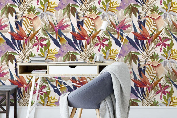 Tropical Flowers 2 Removable Wallpaper-wallpaper-Eazywallz