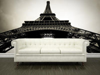 View of the Eiffel Tower, France Wall Mural-Black & White,Buildings & Landmarks-Eazywallz