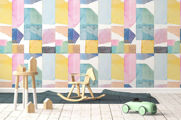 Watercolour Shapes 2 Removable Wallpaper-wallpaper-Eazywallz