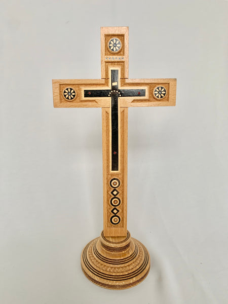 Wooden Cross with Inlay and Carving