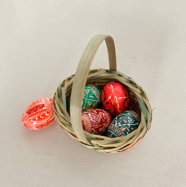 Basket with 5 Mini-Wooden Eggs