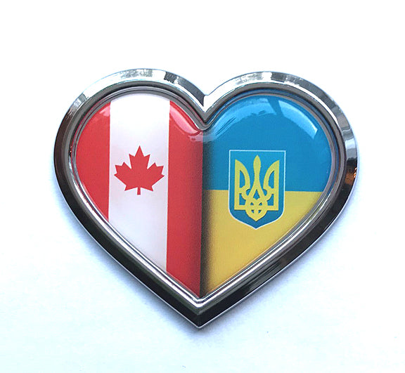 Canada-Ukraine Heart Chrome-Plated Car Decal