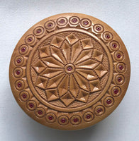 Carved and Inlaid Round Wooden Box