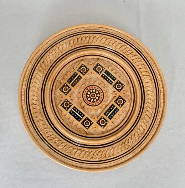 Carved and Inlaid Decorative Plate