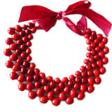 Woven Wooden Collar Necklace - Red