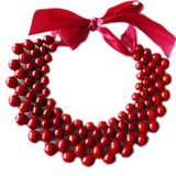 Woven Wooden Collar Necklace - Burgundy