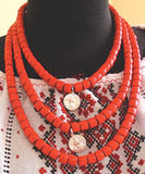 Red Necklace With Metal Coins