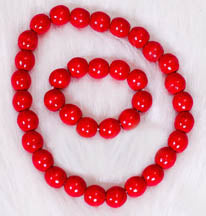 Red Wooden Necklace-bracelet set