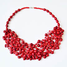 Red Wooden Seed Bead Necklace