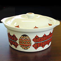 Round Covered Casserole Dish - Pysanka Design