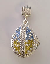 Blue and Yellow Filigree Locket with Tryzub inside