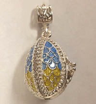 Blue and Yellow Filigree Locket 2 with Tryzub inside