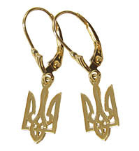 Tryzub Drop Earrings - 14K