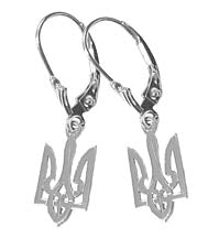 Tryzub Dangle Earrings in Sterling Silver