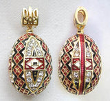 Pysanka Intricate Red Pendant, Silver