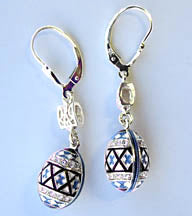 Pysanka Dangle Earrings with Tryzub