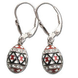 Pysanka Earrings, Sterling Silver
