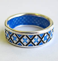 Blue Embroidery Sterling Silver Ring