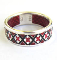 Red Embroidery Sterling Silver Ring