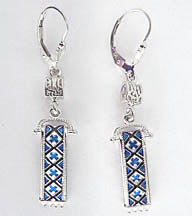 Sterling Silver Rushnyk Earrings with Tryzub